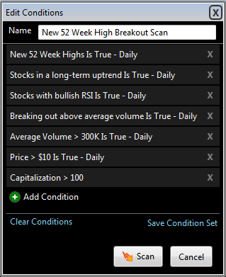 Image of TC2000 52 week high EasyScan conditions